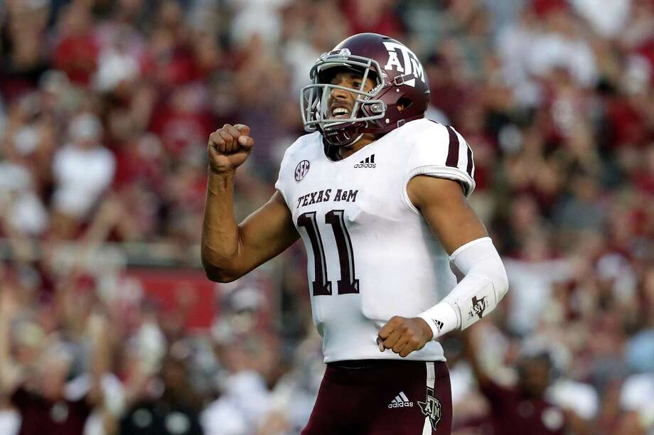 Kellen Mond (11) of the Texas A&M Aggies reacts after a touchdown. Photo: Streeter Lecka, Staff / Getty Images / 2018 Getty Images