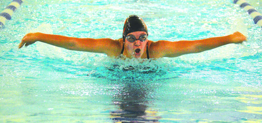 Edwardsville's Jordan Mercer competes in the 100-yard butterfly on Saturday during the Swim for HOPE Invite at Chuck Fruit Aquatic Center. Photo: Scott Marion