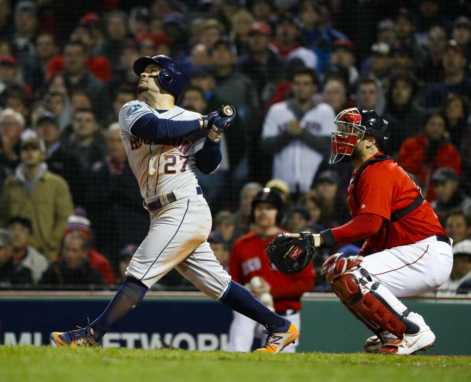 PHOTOS: ALCS, Game 2 Houston Astros Jose Altuve (27) pops out to end the top of the fifth inning of Game 1 of the American League Championship Series at Fenway Park on Saturday, Oct. 13, 2018, in Boston. >>>Look back at action photos from Game 2 of the ALCS ... Photo: Karen Warren/Staff Photographer