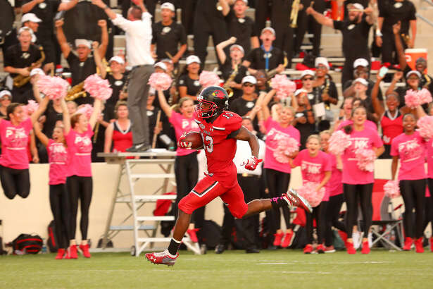 Caleb Abrom returns a blocked field goal for a touchdown, giving Lamar football a 27-21 win over Incarnate Word on Saturday at Provost Umphrey Stadium. Photo by Jeff Kellum, provided by Lamar Athletics.