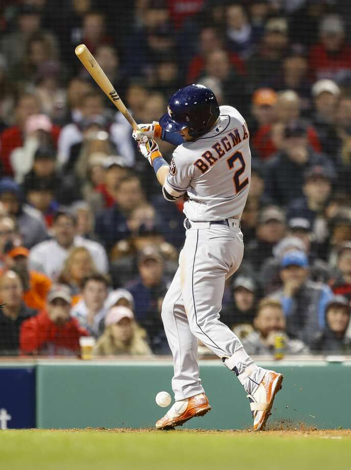 Houston Astros Alex Bregman (2) is hit by a pitch to start the sixth inning of Game 1 of the American League Championship Series at Fenway Park on Saturday, Oct. 13, 2018, in Boston. Photo: Brett Coomer/Staff Photographer