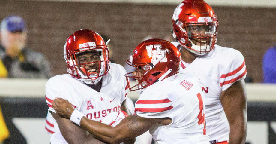Houston's Courtney Lark, left, celebrates with teammates after scoring during their game against East Carolina on Oct. 13, 2018. (Molly Mathis/The Daily Reflector) Photo: Molly Mathis