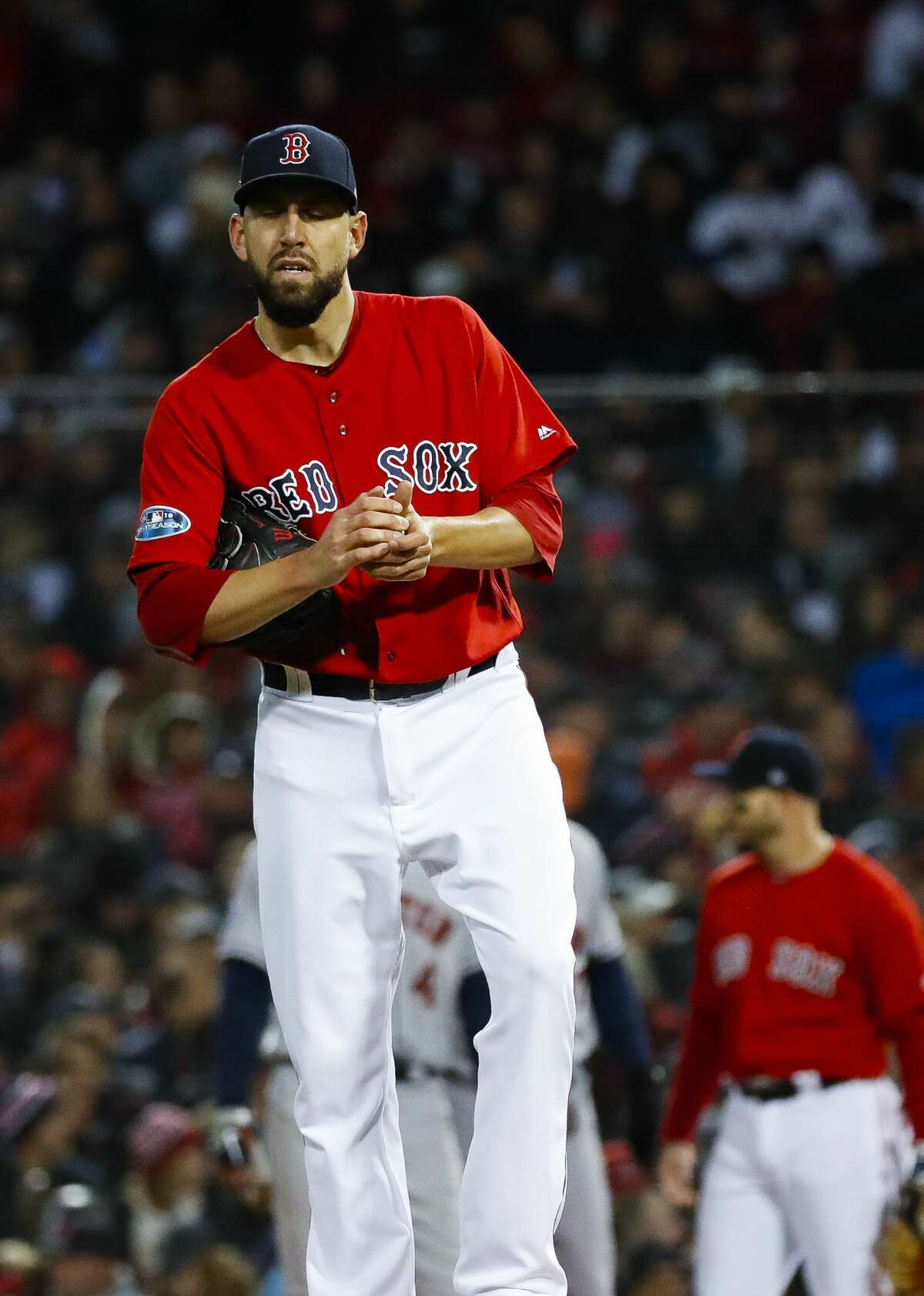 Boston Red Sox pitcher Matt Barnes pitches during the seventh inning of Game 1 of the American League Championship Series at Fenway Park on Saturday, Oct. 13, 2018, in Boston.