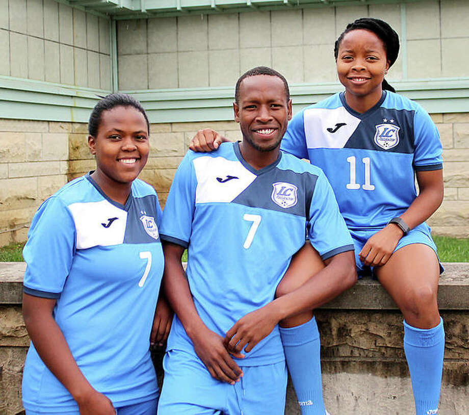 LCCC soccer players (from left) Boitumelo Rabale, Morapeli Lesoesta and Senate Letsie al hail from the tiny southern African nation of Lesotho. Photo: Pete Hayes | The Telegraph