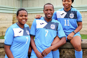 LCCC soccer players (from left) Boitumelo Rabale, Morapeli Lesoesta and Senate Letsie al hail from the tiny southern African nation of Lesotho.