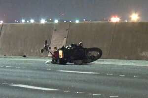 Two brothers were speeding on motorcycles about 11:45 p.m. Saturday when one struck the back of a car on northbound 610 East Loop at the ship channel bridge, Houston police said. The car spun out and the motorcycle rider crashed into his brother. Both went down and one died at the scene.