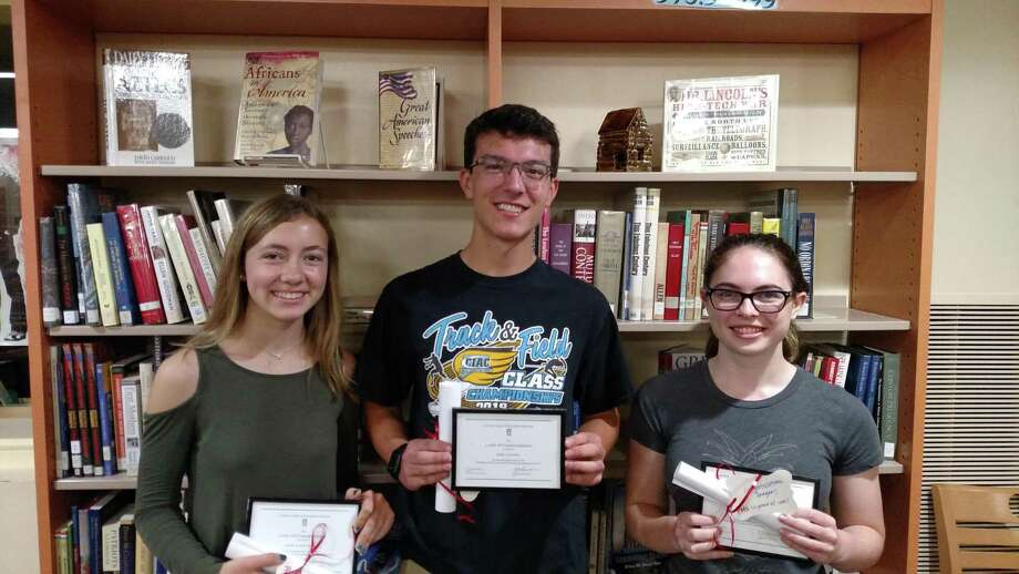 Portland High School students Grace Berthiaume, Mark Matera and Reagan Woitowitz are Commended Students in the 2019 National Merit Scholarship Program. Photo: Contributed Photo