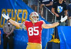 CARSON, CA - SEPTEMBER 30: Tight end George Kittle #85 of the San Francisco 49ers celebrates his touchdown against the Los Angeles Chargers at StubHub Center on September 30, 2018 in Carson, California. (Photo by Jayne Kamin-Oncea/Getty Images)
