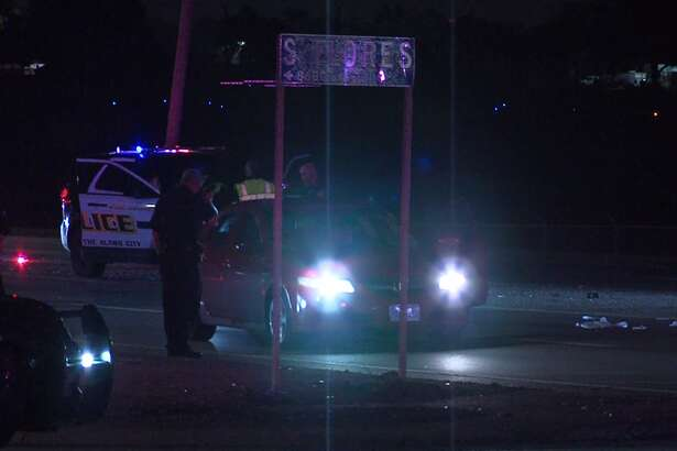 A San Antonio Police officer was hospitalized early Sunday, Oct. 14 after being struck by a vehicle on South Flores Street.