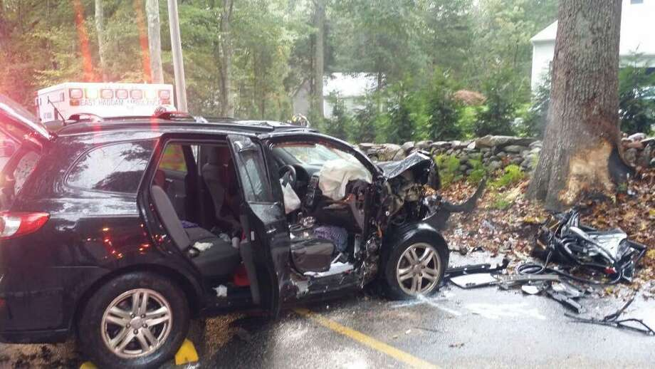 Five people were sent to the hospital Saturday morning after a crash on Schulman Veselak Road in East Haddam. Photo: / Contributed Photo /East Haddam Fire Department Facebook Page Courtesy Joseph Bonola