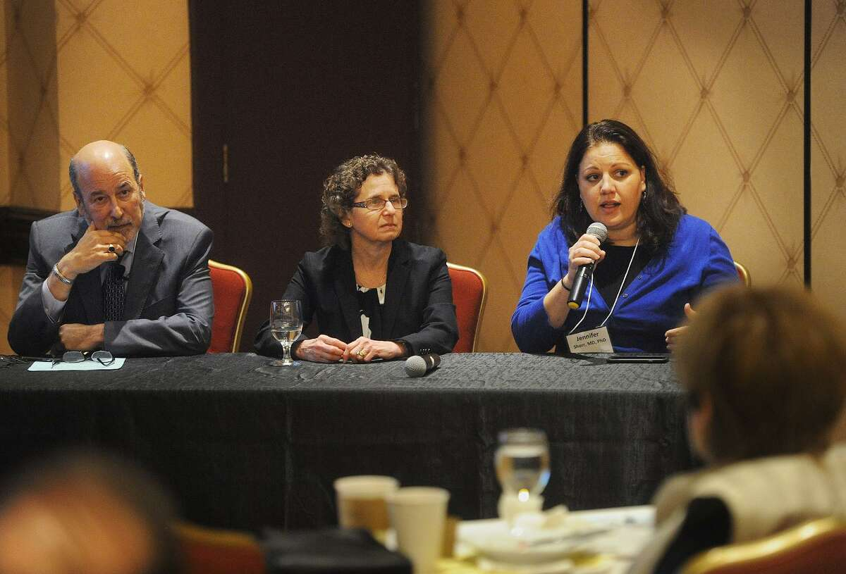 Pediatrics panelists from left; Norman Spack, MD, Laurie Cohen, MD, and Jennifer Sherr, MD, field questions at Bridgeport Hospital's 41st annual Maxwell Bogin, MD, Lectures in Pediatrics at the Trumbull Marriott in Trumbull, Conn. on Wednesday, October 10, 2018.