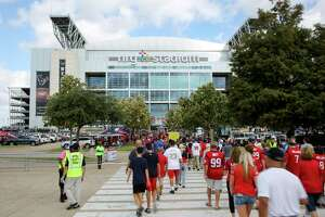 Houston Texans arrive at NRG Stadium for the game against the Buffalo Bills Sunday, Oct. 14, 2018, in Houston.