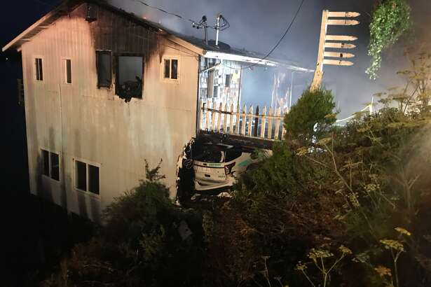 A house in Bodega Bay was struck by the car of a deputy working with the Sonoma County Sheriff's Office, while in a high-speed pursuit Sunday morning.
