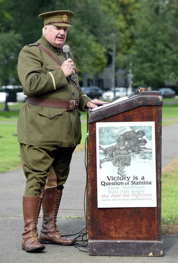 New Haven World War I Centennial Commander William M. MacMullen speaks at the World War One Centennial Commemoration & Rededication of the World War Memorial and Honor Roll on the New Haven Green on October 14, 2018. Photo: Arnold Gold / Hearst Connecticut Media / New Haven Register