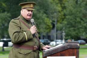 New Haven World War I Centennial Commander William M. MacMullen speaks at the World War One Centennial Commemoration & Rededication of the World War Memorial and Honor Roll on the New Haven Green on October 14, 2018.