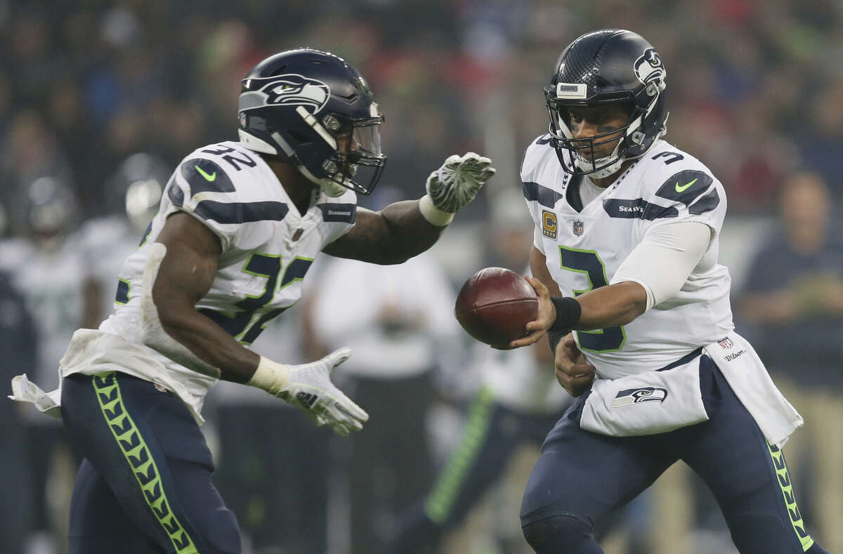 SEAHAWKS CONTINUED TO RUN, RUN, RUN The Seahawks didn't have a 100-yard rusher Sunday, ending a streak of three consecutive games, but the commitment to running the ball didn't change. The run-pass split remained around 60-40 in the Seahawks' win over the Raiders, as it has the last four weeks (Seattle ran the ball on just over 62 percent of plays on Sunday). Second-year tailback Chris Carson led the way with 14 carries on 59 yards. First-round pick Rashaad Penny, who didn't receive a carry last week, was involved in the backfield Sunday. The rookie had 43 rushing yards on nine rushing attempts (His biggest play was a 29-yard pick up on a pass play in the first quarter). Overall, Seattle had 37 rushes for 155 yards -- another dominant performance pounding the line of scrimmage.