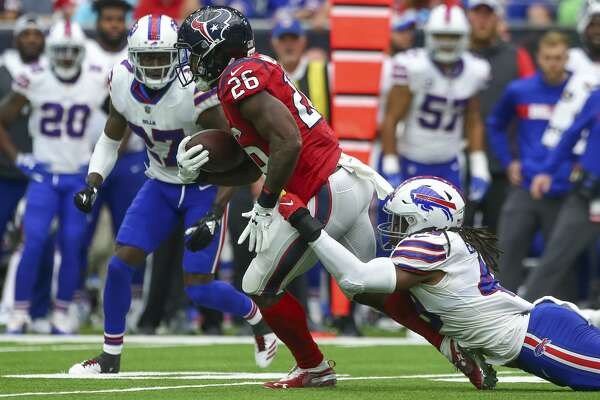 2of101Houston Texans running back Lamar Miller (26) rushes the ball against  Buffalo Bills linebacker Tremaine Edmunds (49) during the fourth quarter of  an ... 38a09f255284a