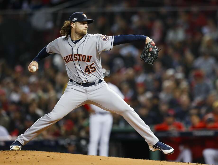 PHOTOS: How Astros spent their offseason, according to Instagram Houston Astros starting pitcher Gerrit Cole (45) pitches during the first inning of Game 2 of the American League Championship Series at Fenway Park on Sunday, Oct. 14, 2018, in Boston. >>>Browse through the photos to see how Houston Astros players spent their offseason by looking at their Instagram pages ... Photo: Brett Coomer/Staff Photographer