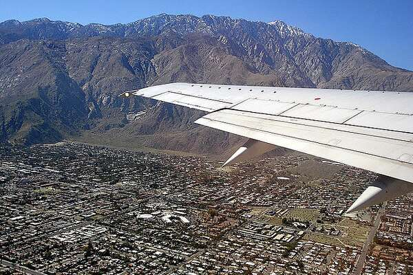 Flying over Palm Springs, California
