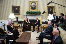 President Trump meets with Saudi Defense Minister and Deputy Crown Prince Mohammed bin Salman bin Abdulaziz Al Saud in the Oval Office in March. Vice President Mike Pence, center right, and White House senior adviser Jared Kushner, right, listen.