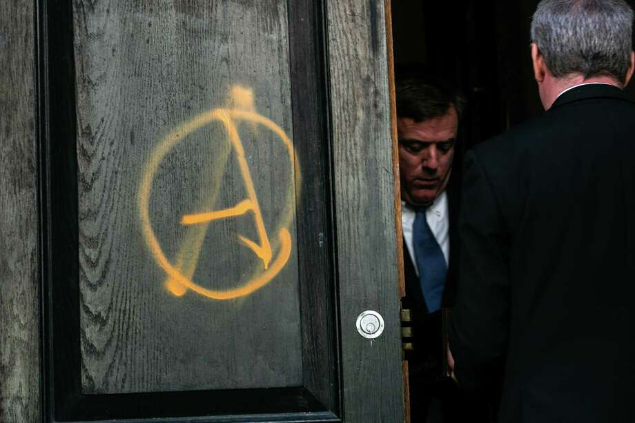 Outside of the vandalized Metropolitan Republican Club in Manhattan, Oct. 12, 2018. Windows were broken and anarchist symbols were left on the club's doors in Manhattan before an appearance by Gavin McInnes, the founder of the Proud Boys. (Jeenah Moon/The New York Times) Photo: JEENAH MOON / NYTNS