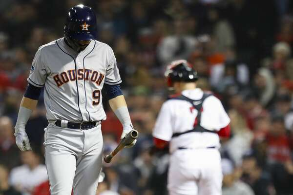 Houston Astros Marwin Gonzalez (9) reacts after striking out in the eighth inning of Game 2 of the American League Championship Series at Fenway Park on Sunday, Oct. 14, 2018, in Boston.