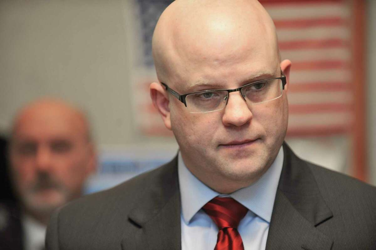 Rensselaer County District Attorney Joel Abelove listens to a question from a member of the media during a press conference on Monday, April 18, 2016, in Troy N.Y. The press event was held by officials to talk about the police shooting that took place early Sunday morning. Sgt. Randall French fatally shot Edson Thevenin of Colonie on the Collar City Bridge following a brief chase. (Paul Buckowski / Times Union)
