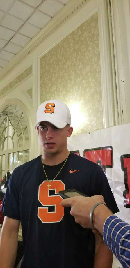 Joseph Girard III talks to the media after announcing he will attend Syracuse University, at the Queensbury Hotel on Sunday October 14, 2018. (James Allen / Times Union)