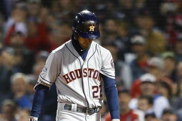 Houston Astros Josh Reddick (22) strikes out swinging in the ninth inning of Game 2 of the American League Championship Series at Fenway Park on Sunday, Oct. 14, 2018, in Boston.