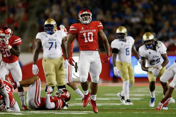 HOUSTON, TX - OCTOBER 04: Ed Oliver #10 of the Houston Cougars celebrates after a tackle in the first half against the Tulsa Golden Hurricane at TDECU Stadium on October 4, 2018 in Houston, Texas.