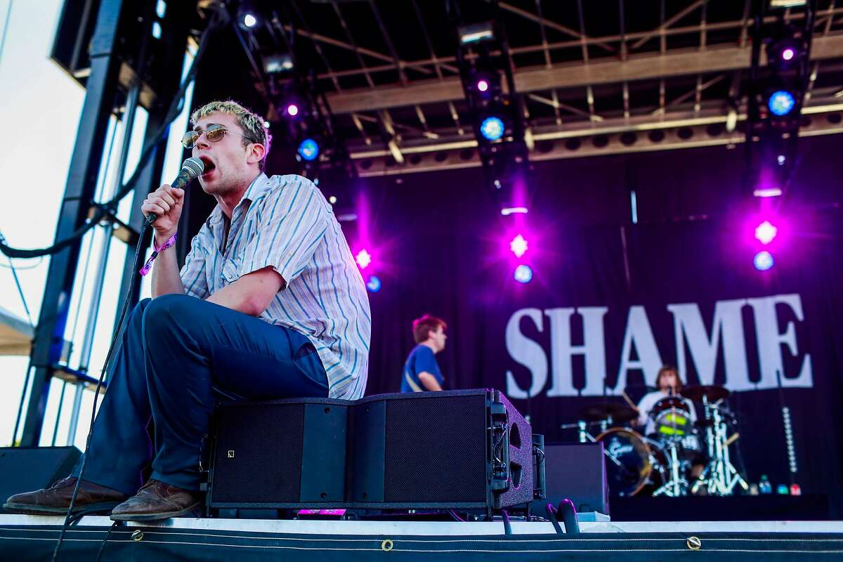 Shame performs during the Treasure Island Music Festival in Oakland on Sunday, Oct. 14, 2018.