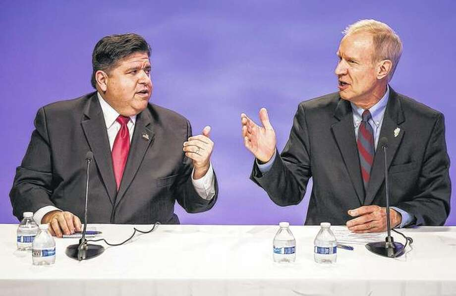 Republican Gov. Bruce Rauner (right) and his Democratic challenger, J.B. Pritzker, face off in a debate in Chicago. Republicans who gained ground in the Illinois General Assembly two years ago with Rauner's financial help face a tougher go of it this year. Rauner and his top contributors poured more than $40 million into legislative races in 2016. The GOP picked up seats in the House and Senate. Rauner hoped for further gains in 2018, but he's struggling in a re-election bid against Pritzker. Photo: Rich Hein | Chicago Sun-Times (AP)