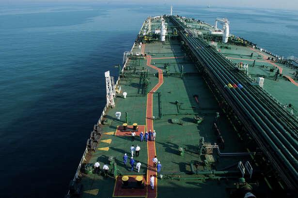 The crude oil tanker Devon sails through the Persian Gulf towards Kharq Island to transport crude oil to export markets in the Persian Gulf on March 23, 2018.