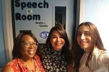 New Haven Public Schools speech-language pathologists Sondi Jackson, Derlene Ortiz and Cayla White.