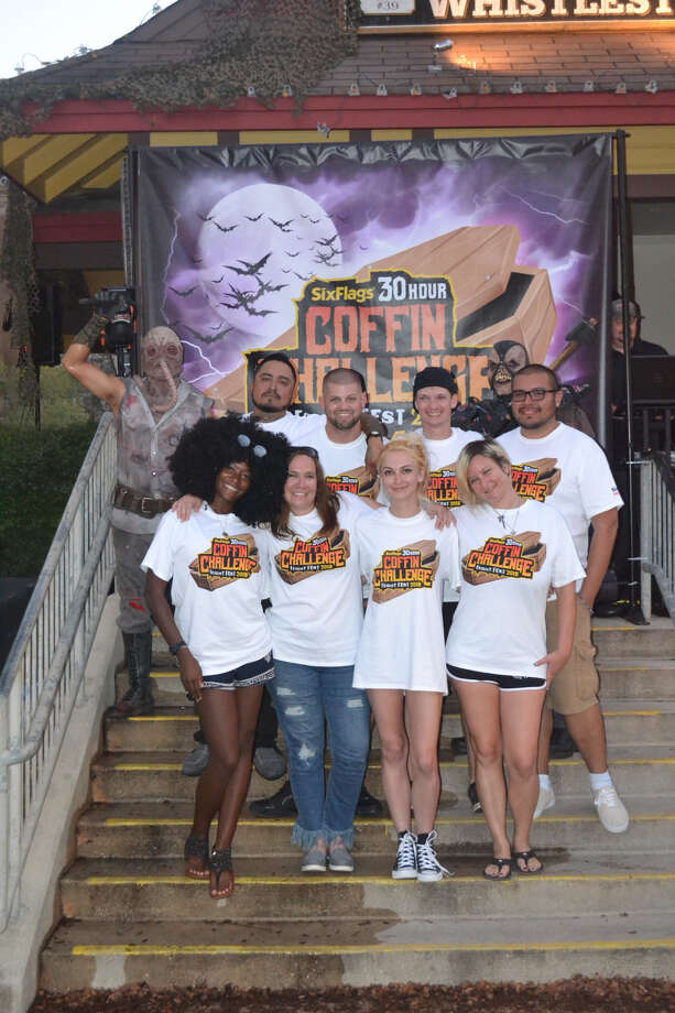 All of the people who participated in the 30-hour coffin challenge at Six Flags Fiesta Texas survived. They won cash prizes of $300 each, gold season passes for 2019 and Express Haunted House passes. Photo: Courtesy Of Six Flags Fiesta Texas