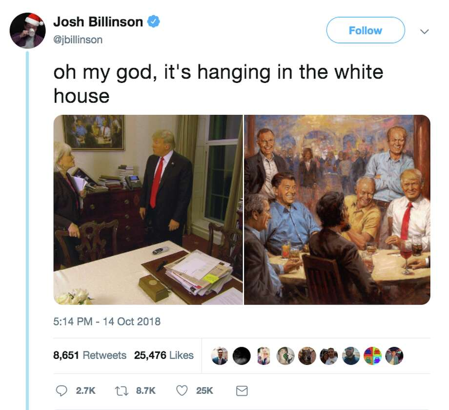 A Painting Hanging In The White House Showing Trump Drinking T E With Republican Presidents