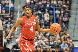 HARTFORD, CT - JANUARY 28: Houston Cougar's Guard Jasmyne Harris (4) in action during the second half a women's NCAA division 1 basketball game between the Houston Cougars and the UConn Huskies on January 28, 2017, at the XL Center in Hartford, CT. (Photo by David Hahn/Icon Sportswire via Getty Images)