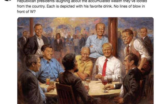 A painting hanging in the White House showing Trump drinking a Diet Coke with Republican presidents of the past got a lot of attention in social media on Oct. 14, 2018