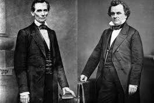 A composite photo of Abraham Lincoln and Stephen A. Douglas. Despite their intertwined history, the pair were never actually photographed together.