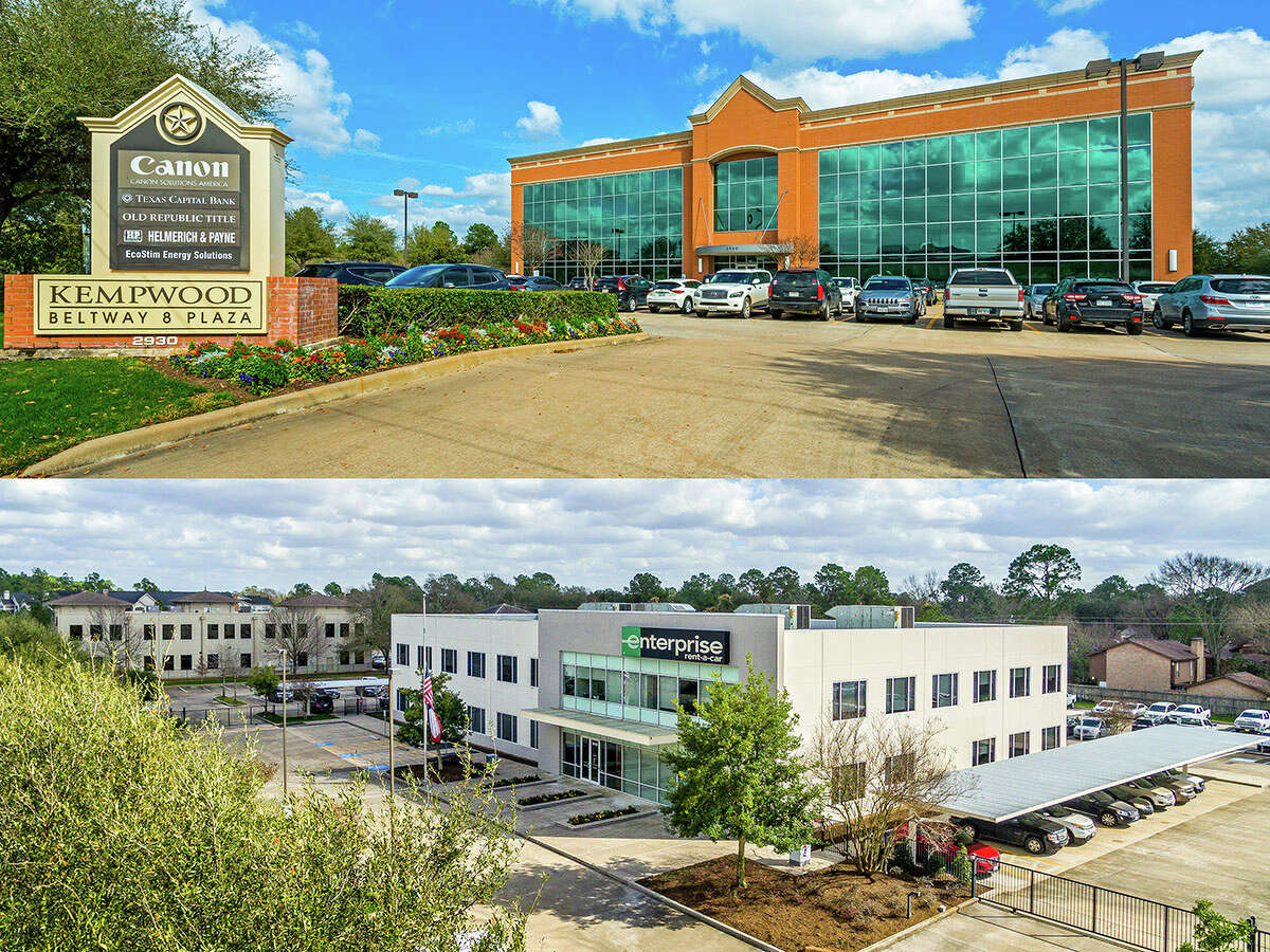 Amerix Capital purchased 2930 W. Sam Houston Parkway, top, and Enterprise Holdings purchased 10401 CentrePark Drive. The buildings, located in the West Belt submarket, were purchased from Houston-based MetroNational.