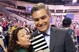 In Erie, Pa., last week CNN reporter Jim Acosta takes a selfie with Stephanie Boyd, before the start of a Trump rally.