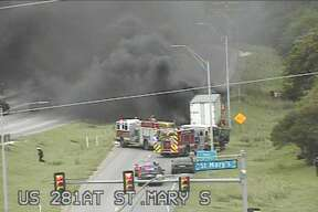 An 18-wheeler caught on fire Monday, shutting down the St. Mary's Street entrance ramp onto the southbound lanes of Highway 281.