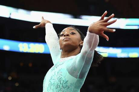 BOSTON, MA - AUGUST 19: Simone Biles performs her floor exercise during day four of the U.S. Gymnastics Championships 2018 at TD Garden on August 19, 2018 in Boston, Massachusetts. (Photo by Tim Bradbury/Getty Images)