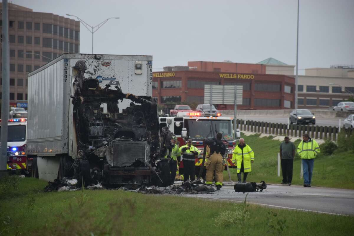 An 18-wheeler spontaneously combusted Monday October 15, 2018 just before entering U.S. 281 on the North Side.