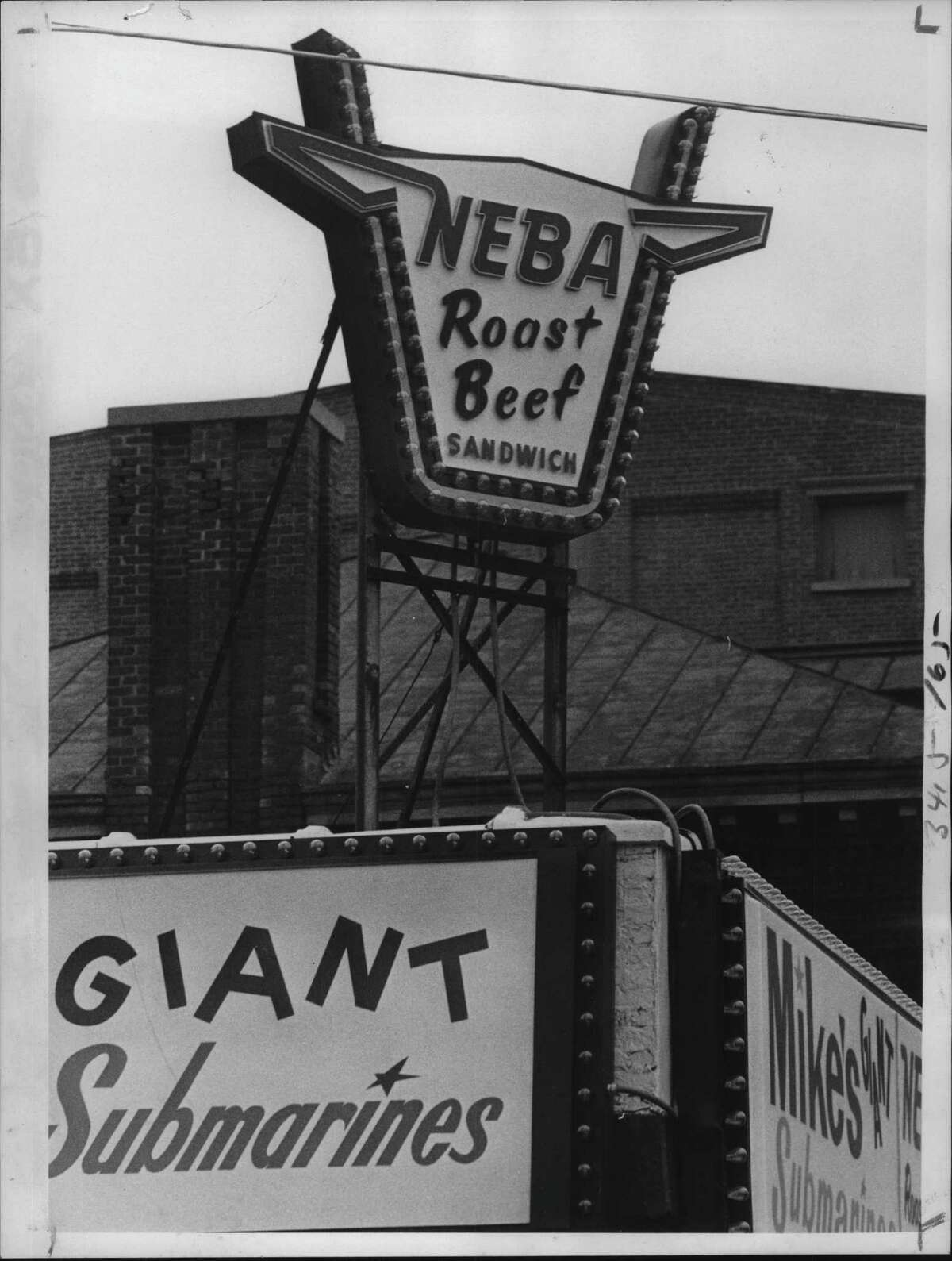 Neba Root Beer sign at Mike's Submarines, Madison & Lark Streets, Albany, New York. November 15, 1978 (Times Union Archive)