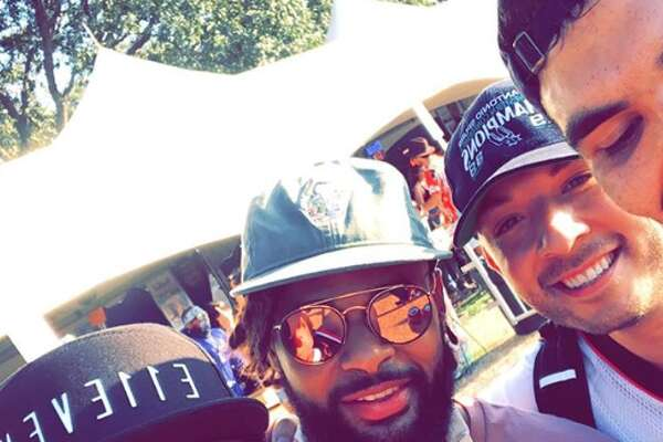 Spurs fans Geovan Franco, Chris Rodriguez and Gabe Olivares spotted the Spur at Austin City Limits Music Festival around 6 p.m. Saturday.