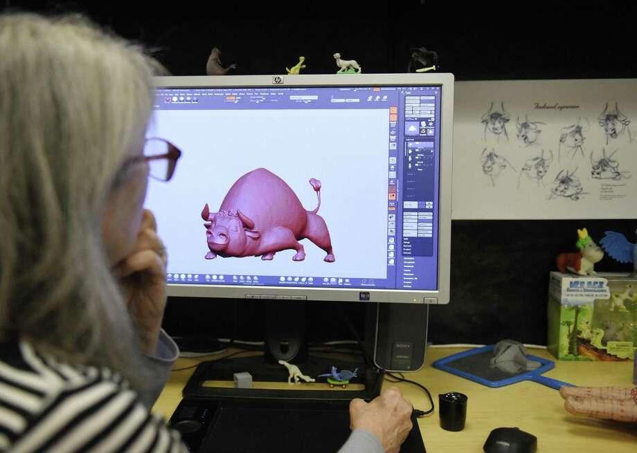 A digital sculptor in May 2017 at Blue Sky Studios in Greenwich, Conn. Photo: Tyler Sizemore / Hearst Connecticut Media / Greenwich Time