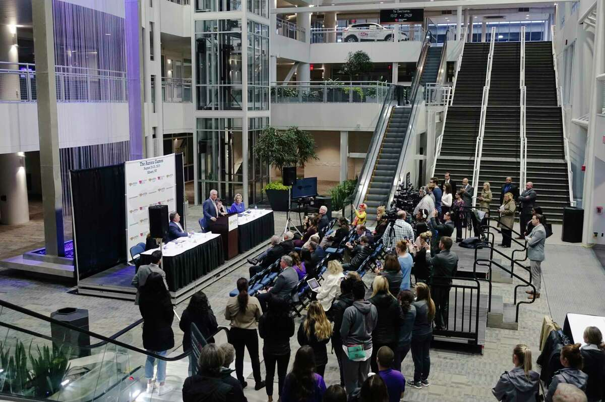 People gather for a press conference at The Times Union Center on Monday, Oct. 15, 2018, in Albany, N.Y. It was announced at the event that the Aurora Games would be coming to Albany in August of 2019. (Paul Buckowski/Times Union)