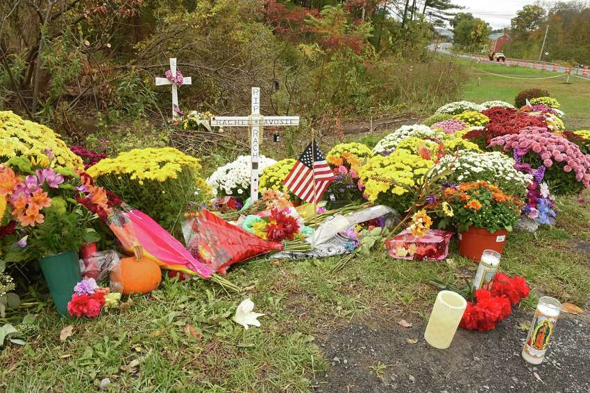 A memorial for the Schoharie limo crash victims grows at the site of the accident next to the Apple Barrel Store on Monday, Oct. 15, 2018 in Schoharie, N.Y. (Lori Van Buren/Times Union)