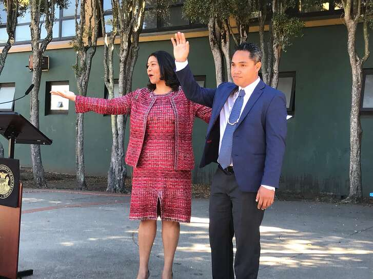 San Francisco Mayor London Breed with Faauuga Moliga, who she appointed to the school board on Monday, Oct. 15, 2018.